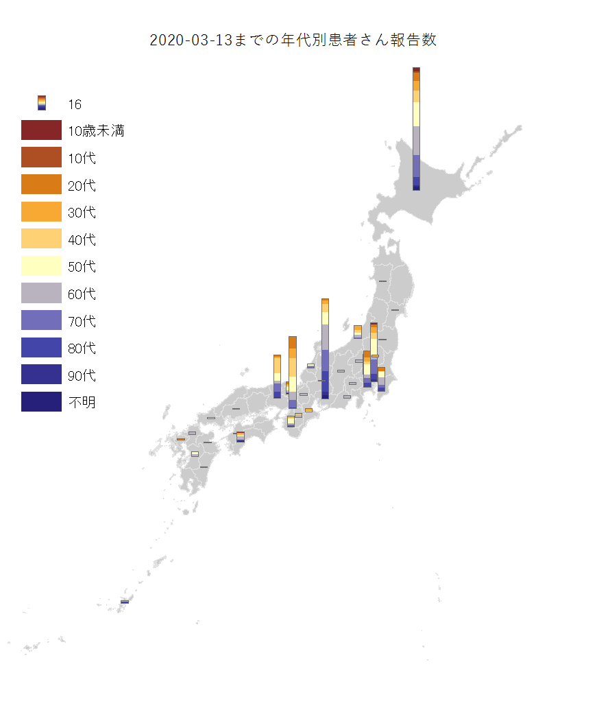 covid map by age 2020 03 13 @japan