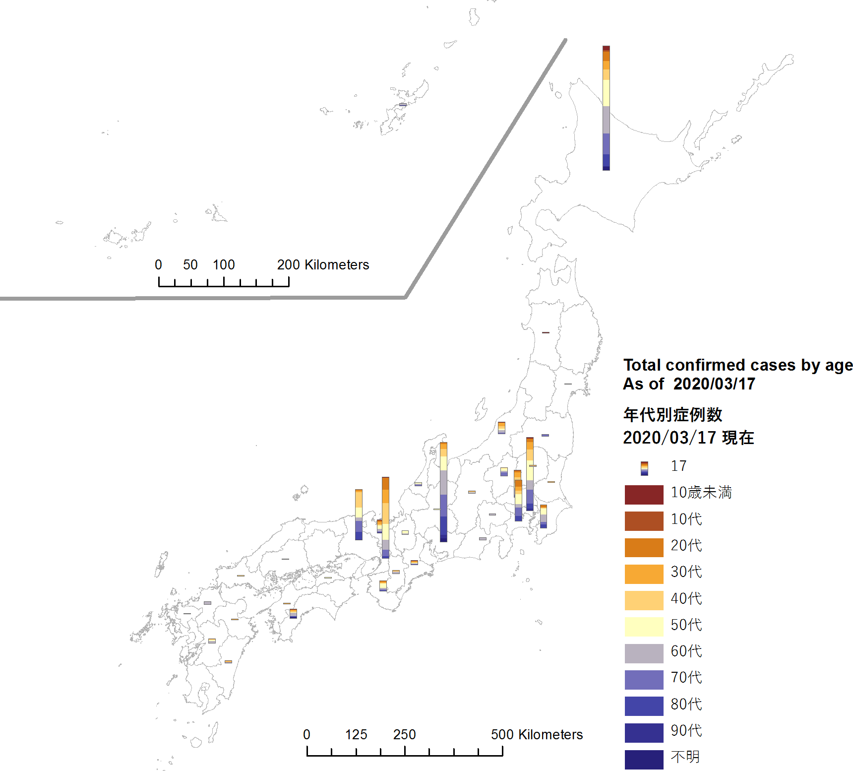 covid map by age 2020 03 17 @japan