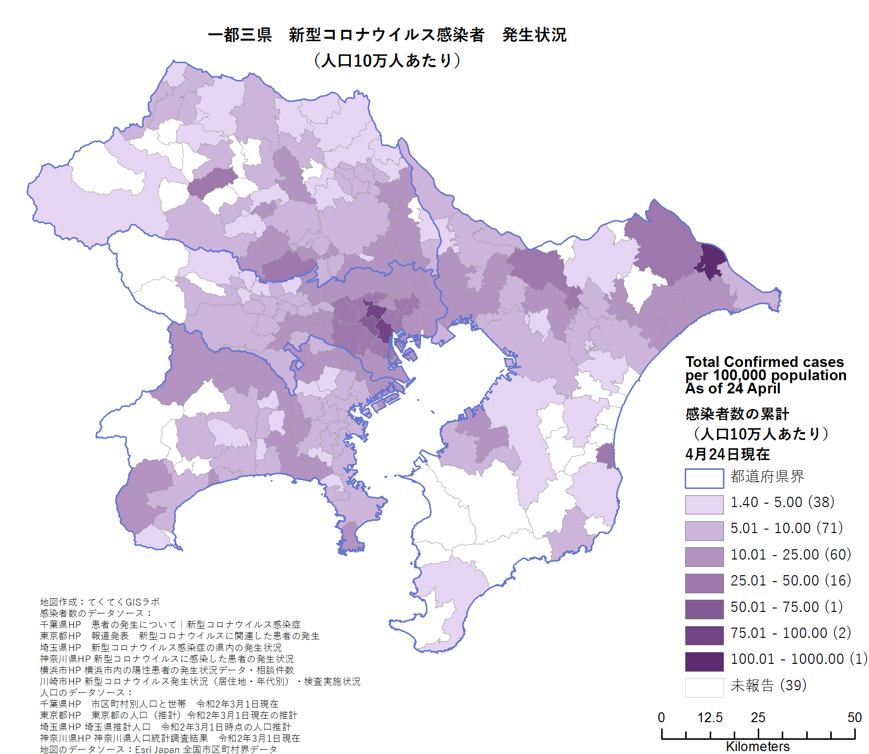 Number of cases around Tokyo