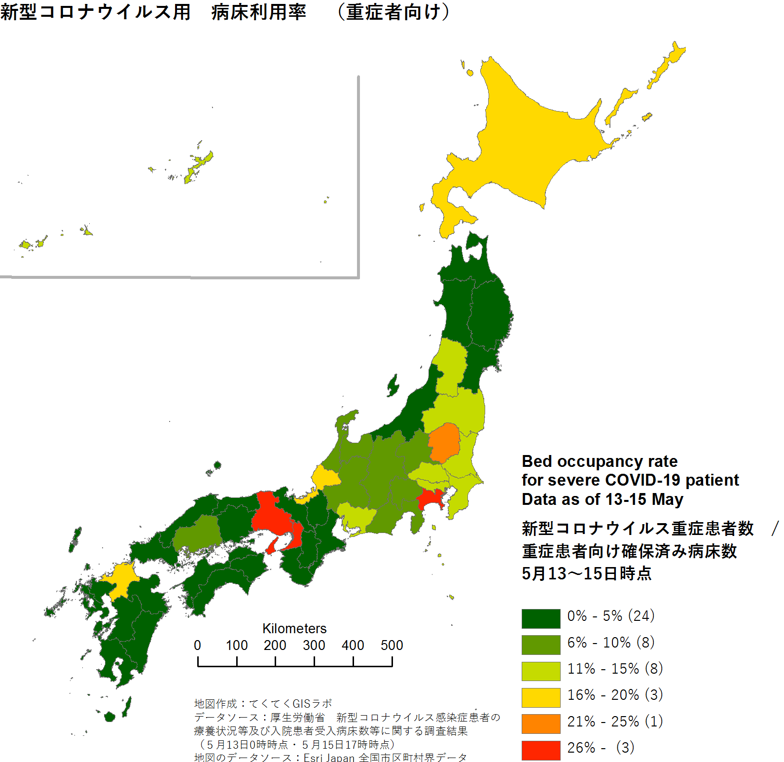 bed occupancy rate in Japan
