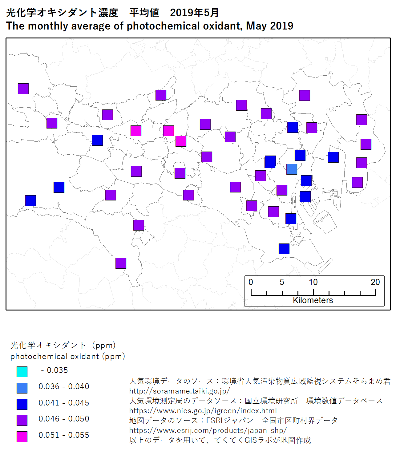 photochromic oxidant map (average) of Tokyo, May 2019