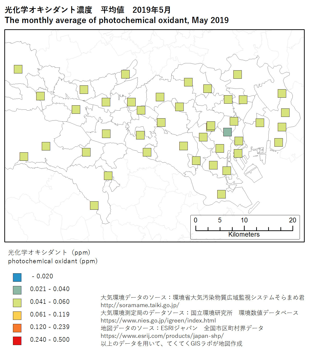 photochromic oxidant map (ave) of Tokyo, May 2019