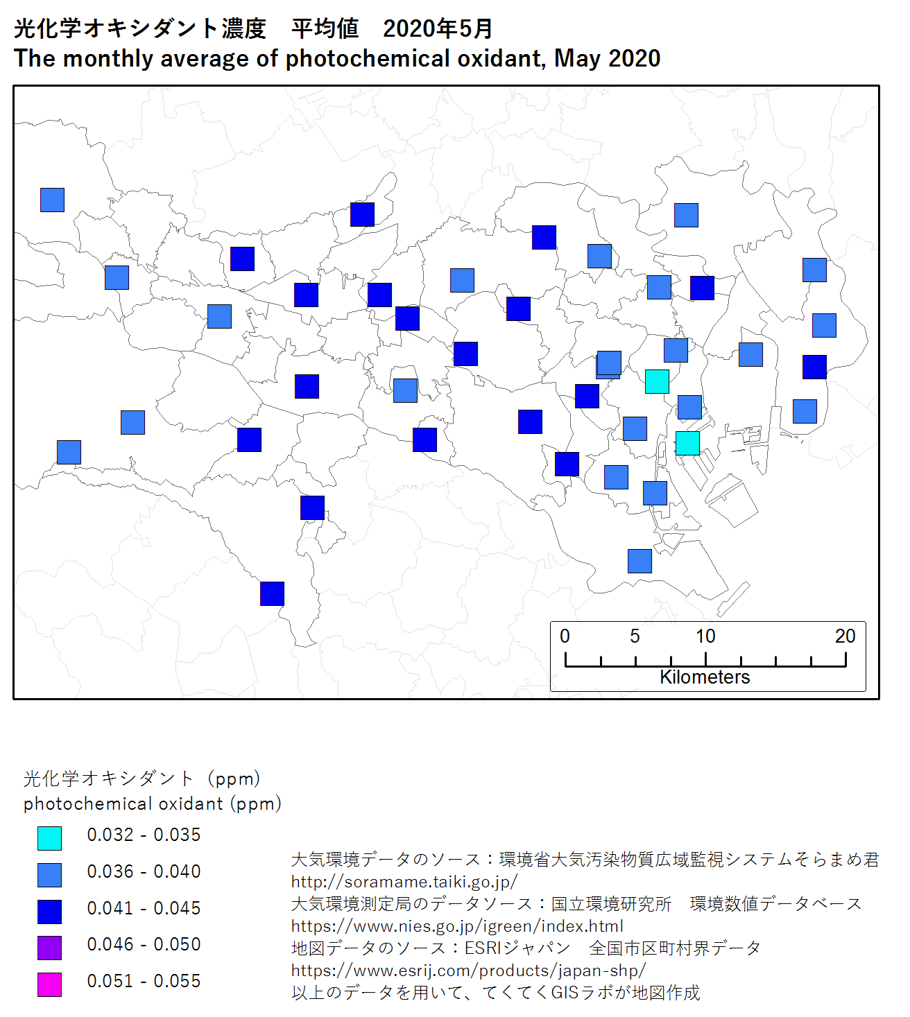 photochromic oxidant map (average) of Tokyo, May 2020