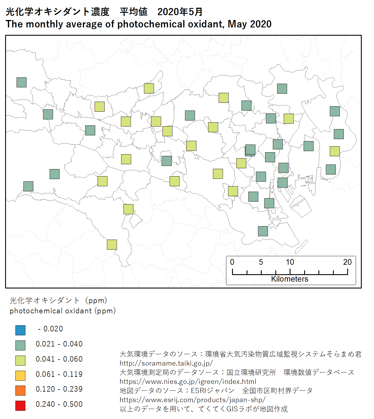 photochromic oxidant map (ave) of Tokyo, May 2020