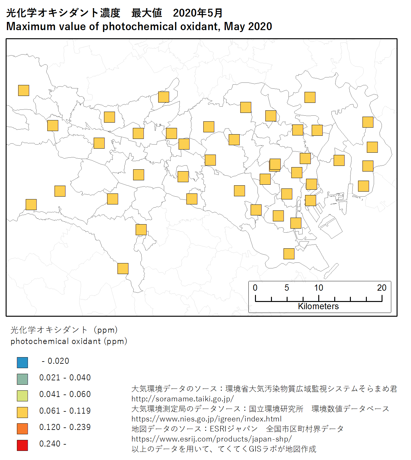 photochromic oxidant map (max) of Tokyo, May 2020