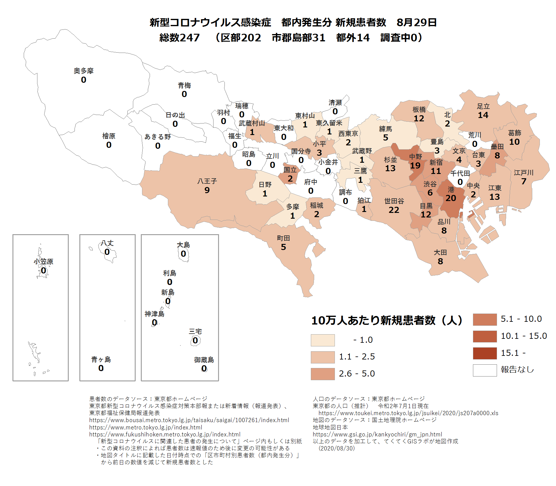 市区町村ごと新規患者数8月29日東京